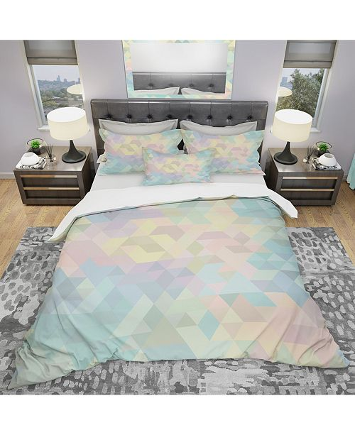 Design Art Designart 'Geometric Pattern In Pastel Tints #2' Modern Duvet Cover Set - Queen
