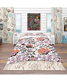 Designart 'Pattern, Vintage Decorative Elements' Bohemian and Eclectic Duvet Cover Set - Queen