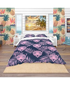 Designart 'Leopard With Palm Leaves Pattern' Tropical Duvet Cover Set - Queen