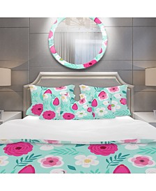Designart 'Rustic Flowers And Leaves' Modern and Contemporary Duvet Cover Set - Queen