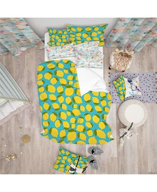 Design Art Designart 'Lemon Pattern' Tropical Kids Duvet Cover Set - Queen