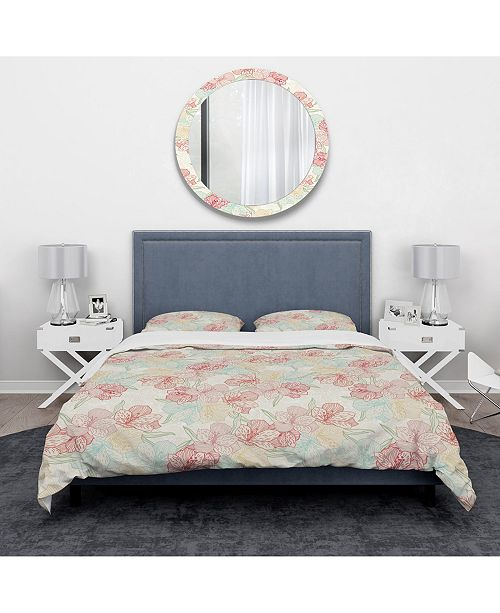 Design Art Designart 'Abstract Flower Pattern With Orchid' Modern and Contemporary Duvet Cover Set - Queen