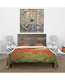 Designart 'Wild Poppy Flowers At Cloudy Sunset' Cabin and Lodge Duvet Cover Set - Queen