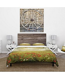 Designart 'Wild Poppies On Cloudy Background' Rustic Duvet Cover Set - Queen