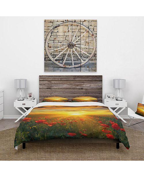 Design Art Designart 'Bright New Day Over Poppy Fields' Cabin and Lodge Duvet Cover Set - Twin