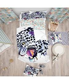 Designart 'Ferocious Snow Leopard Face' Modern and Contemporary Duvet Cover Set - Queen