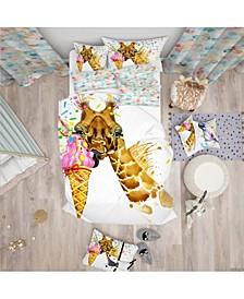 Designart 'Giraffe Eating Ice Cream Watercolor' Tropical Duvet Cover Set - Twin