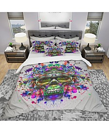 Designart 'Skull With Glasses And Paint Splashes' Modern and Contemporary Duvet Cover Set