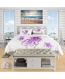 Designart 'Purple Jellyfish Watercolor' Nautical and Coastal Duvet Cover Set - Queen