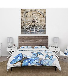 Designart 'Watercolor Butterflies On White' Cabin and Lodge Duvet Cover Set - Queen