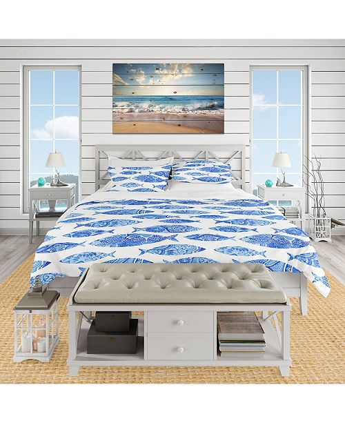Design Art Designart 'Pattern With Fishes' Nautical and Coastal Duvet Cover Set - Queen
