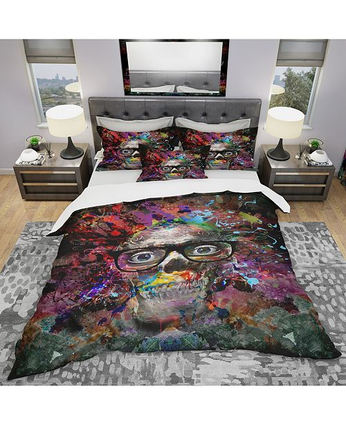 Design Art Designart 'Colorful Human Skull With Glasses' Modern and Contemporary Duvet Cover Set - King