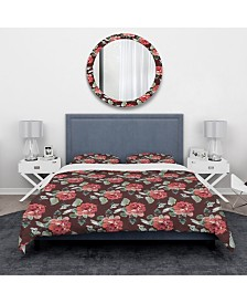 Designart 'Red Rose In Brown Background' Traditional Duvet Cover Set - Twin