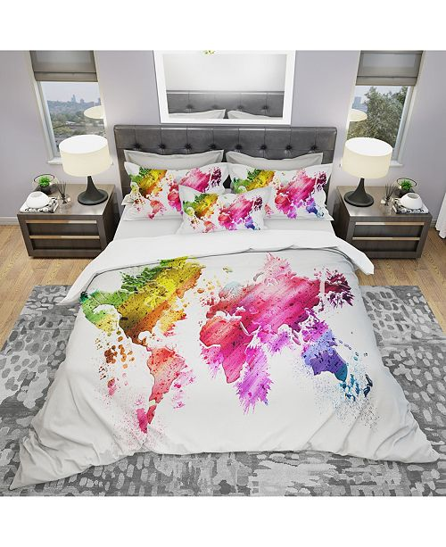 Design Art Designart 'Colors Of The World' Modern and Contemporary Duvet Cover Set - King