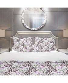 Designart 'Hand Drawn Purple Flowers' Modern and Contemporary Duvet Cover Set - King