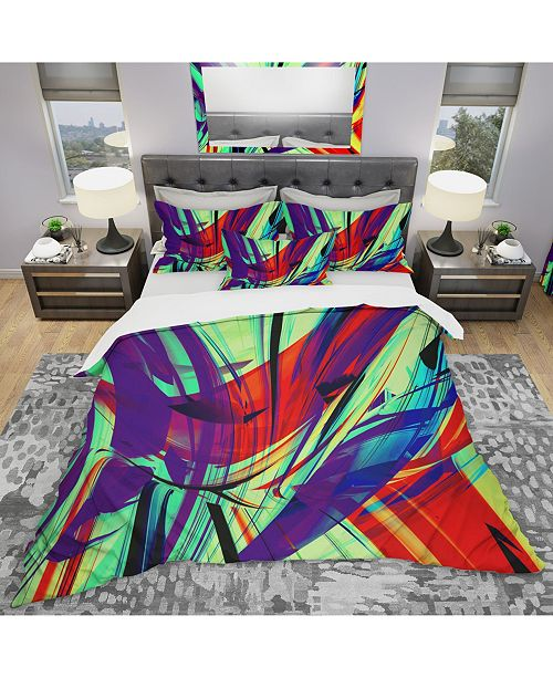Design Art Designart 'Vinatge Lime Green Abstract Art' Modern and Contemporary Duvet Cover Set - King