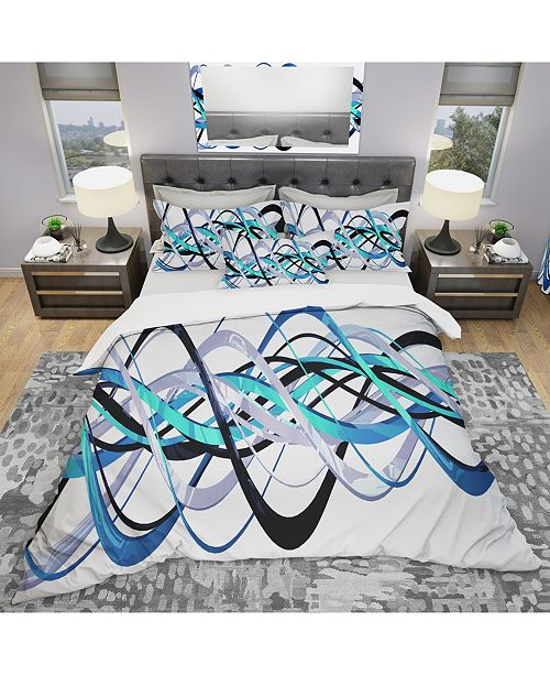 Design Art Designart 'Blue And Silver Helix' Modern and Contemporary Duvet Cover Set - Twin