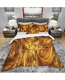 Designart 'Molten Gold Exchange' Modern and Contemporary Duvet Cover Set - Queen