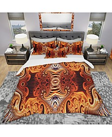 Designart 'Gold And Silver Reflection' Modern and Contemporary Duvet Cover Set - Queen