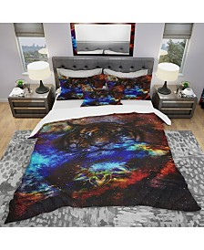 Designart 'Colorful Tiger Collage' Modern and Contemporary Duvet Cover Set - King