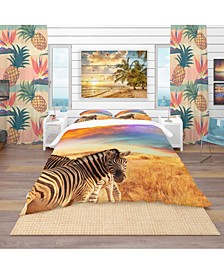 Designart 'Zebras In Bush Under Colorful Sky' Tropical Duvet Cover Set - Twin