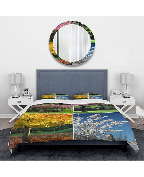 Design Art Designart 'Four Seasons Trees Collage' Traditional Duvet Cover Set - Twin