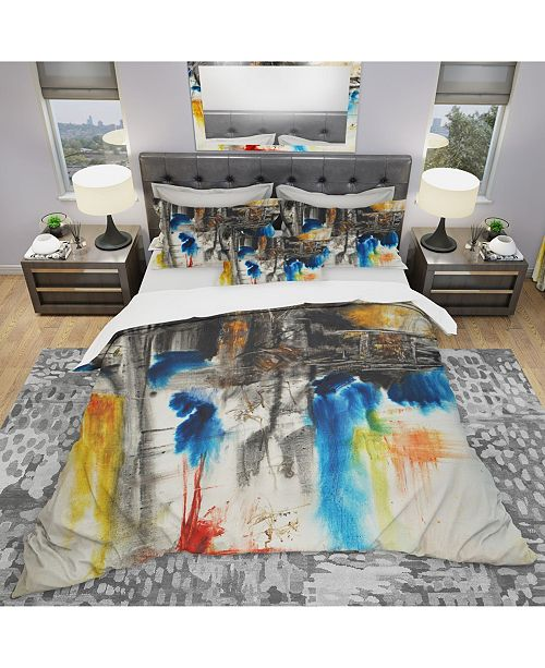 Design Art Designart 'Black Blue And Yellow Pattern' Modern and Contemporary Duvet Cover Set - Twin