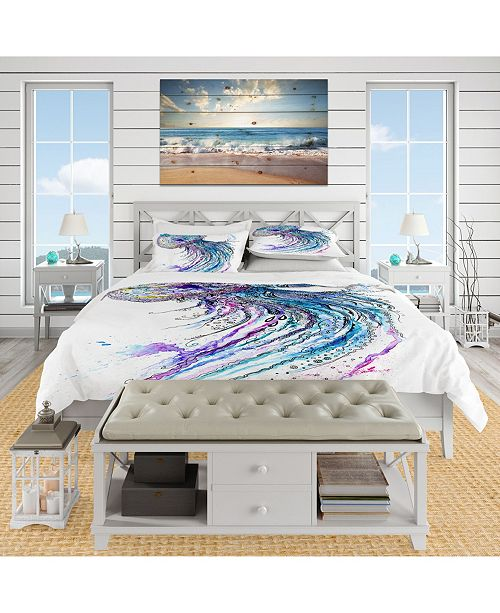 Design Art Designart 'Jelly Fish Watercolor' Tropical Duvet Cover Set - King