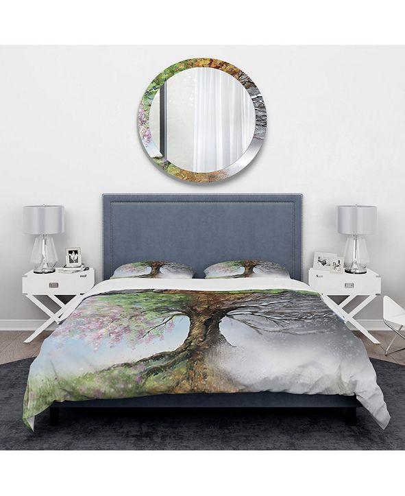 Design Art Designart 'Tree With Four Seasons' Traditional Duvet Cover Set - Twin