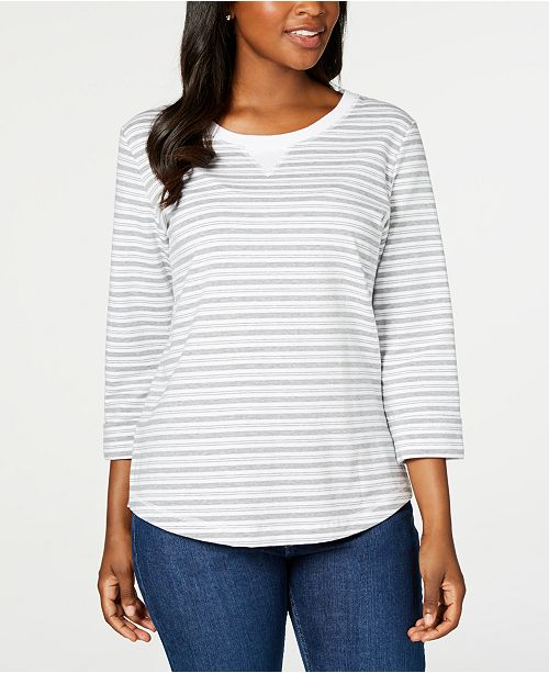 Karen Scott Petite Striped 3/4-Sleeve Sweatshirt, Created for Macy's