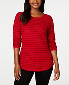 Karen Scott Petite Textured Sweater, Created for Macy's