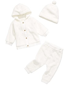 Baby Boys & Girls Fuzzy Fleece Hoodie, Jogger Pants & Hat, Created for Macy's