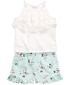 Bonnie Jean Little Girls 2-Pc. Lace-Trim Top & Floral-Print Shorts Set