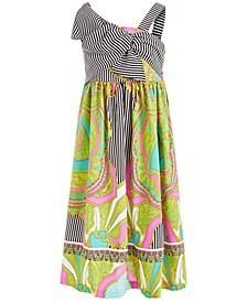 Little Girls Mixed-Print Twist-Front Maxi Dress