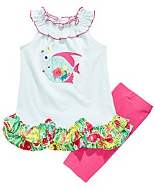 Little Girls 2-Pc. Ruffled Fish Top & Bike Shorts Set