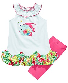 Bonnie Jean Little Girls 2-Pc. Ruffled Fish Top & Bike Shorts Set