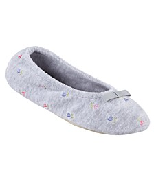Isotoner Embroidered Terry Ballerina Slipper, Online Only