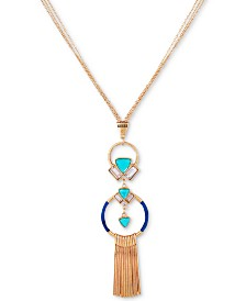 "GUESS Gold-Tone Crystal, Stone & Thread-Wrapped Pendant Necklace, 28"" + 2"" extender"