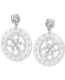 GUESS Crystal & Lucite Logo Drop Earrings