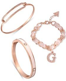 GUESS Rose Gold-Tone 3-Pc. Set Crystal & Satin Ribbon Bracelets
