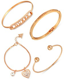 GUESS Gold-Tone 4-Pc. Set Crystal Bracelets