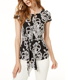 I.N.C. Keyhole Knot-Front Top, Created for Macy's