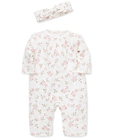 Little Me Baby Girls 2-Pc. Cotton Floral-Print Coverall & Headband Set