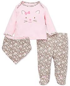 Baby Girls 3-Pc. Leopard-Print Footed Leggings, Bib & T-Shirt Cotton Set
