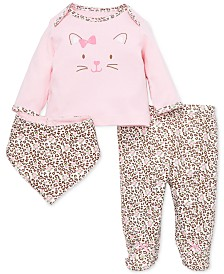 Little Me Baby Girls 3-Pc. Leopard-Print Footed Leggings, Bib & T-Shirt Cotton Set