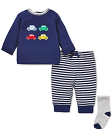 Baby Boys 3-Pc. Cotton Cars Top, Jogger Pants & Socks Set