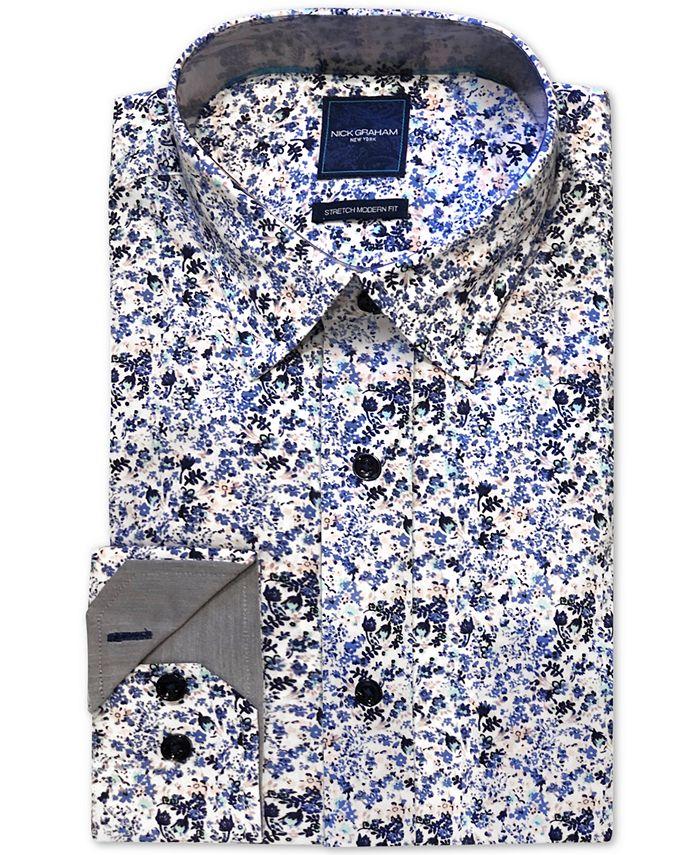 Nick Graham - Men's Modern-Fit Stretch Floral-Print Dress Shirt