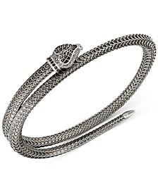 Snake Motif Wrap Bracelet in Sterling Silver