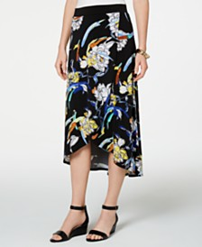 JM Collection Printed Faux-Wrap Maxi Skirt, Created for Macys
