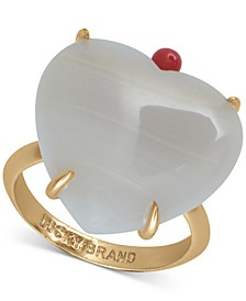Gold-Tone Imitation Mother-of-Pearl Heart Ring